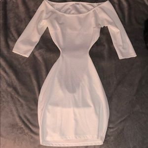 white bodycon open back dress